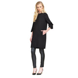 Clara Sunwoo Ponte Knit Ruffle Cuff Tunic Dress in Black - TD36A-BLK