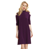 Clara Sunwoo Mock Neck Dress in Eggplant - TD505L-EGPLT - Size 1X Only