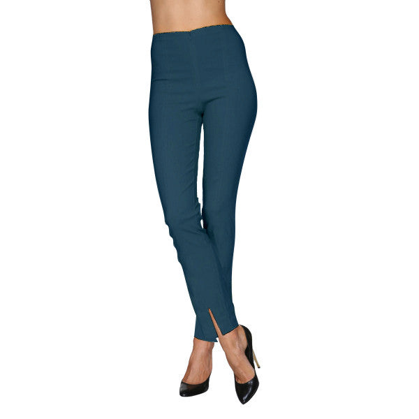 Mesmerize Pants with Front Ankle Slits and Front Zipper in Teal - MA21-TEA