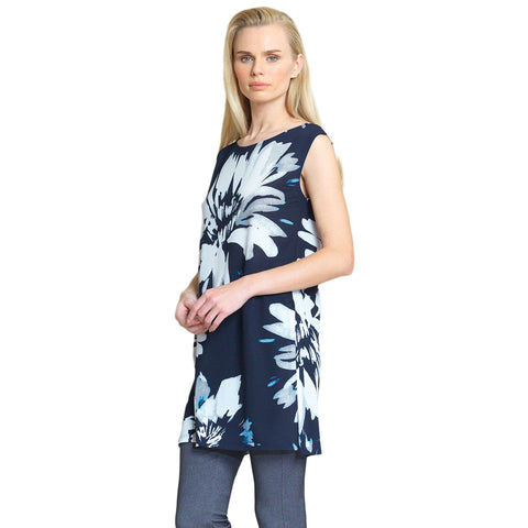 Clara Sunwoo Watercolor Floral Crepe Knit Long Tunic-Tank - Navy/White - TK5P2