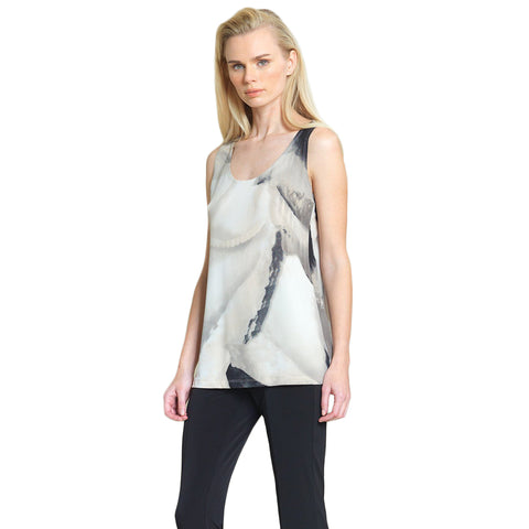 Clara Sunwoo Watercolor Mid-Length Tank - Taupe Multi - TK73P-TPE - Sizes XS & M