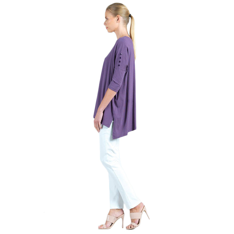 Clara Sunwoo Cotton High-Low Boyfriend Tunic  in Plum- TU114MC-PLUM