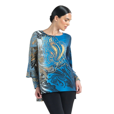 Clara Sunwoo Paisley High-Low Tunic in Navy/Multi - TU27P -  Size XS Only