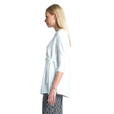 Clara Sunwoo Textured Solid Side Tie Wrap Tunic - TU2E-WHT - Size XL Only