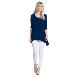 Clara Sunwoo Solid Back Cut-Out Tunic in Navy - TU404-NVY - Size XS  Only