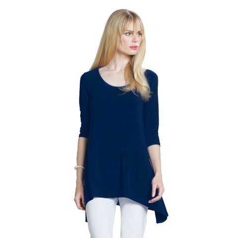 Clara Sunwoo Solid Back Cut-Out Tunic in Navy - TU404-NVY - Sizes XS & S Only
