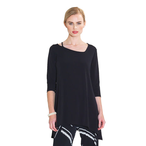 Strap & Angle Neckline Solid Color Tunic in Black - TU405-BK Size S Only