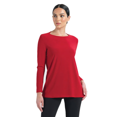 Clara Sunwoo Solid Tunic with Cutout Keyhole Back in Red - TU41-RED