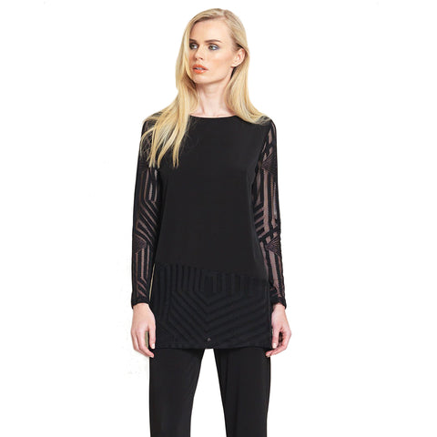 Clara Sunwoo Lace Mesh Tunic in Black - As Seen on Today Show ♥ TU414M-BK