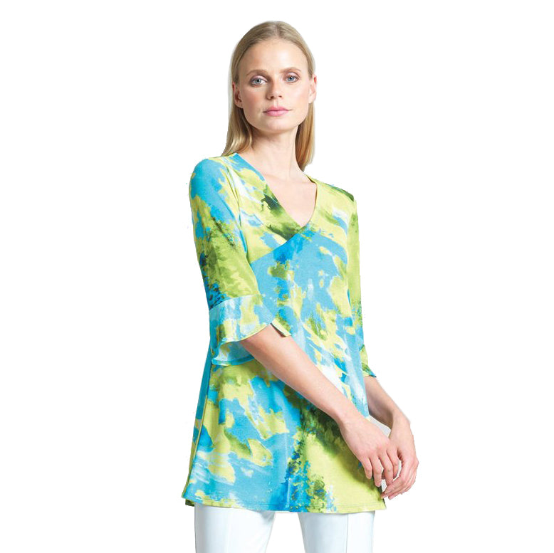 Clara Sunwoo Watercolor Printed V-Neck Tunic in Lime/Multi - TU4P3 - Sizes XS & S Only