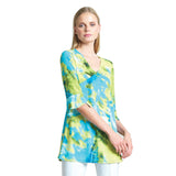 Clara Sunwoo Watercolor V-Neck Tunic in Lime/Multi - TU4P3 - Sizes XS-S, XL-1X