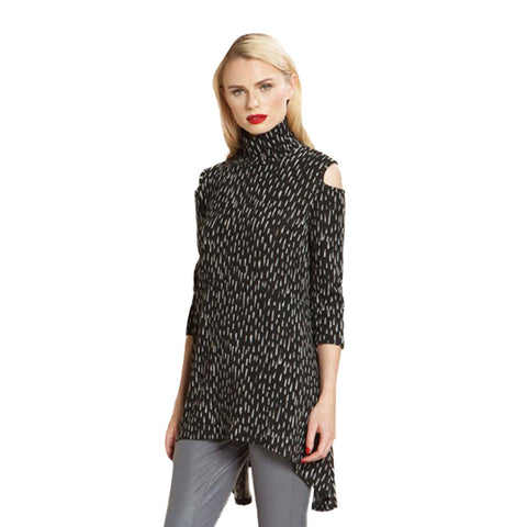 Clara Sunwoo Print Open Shoulder Sweater Tunic - TU505WP1-BLK - XS, 1X Available!