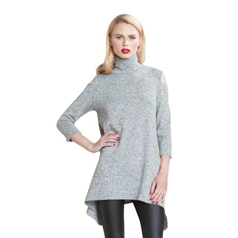 Clara Sunwoo Mock Neck Open Shoulder Sweater Tunic  TU505W-GR