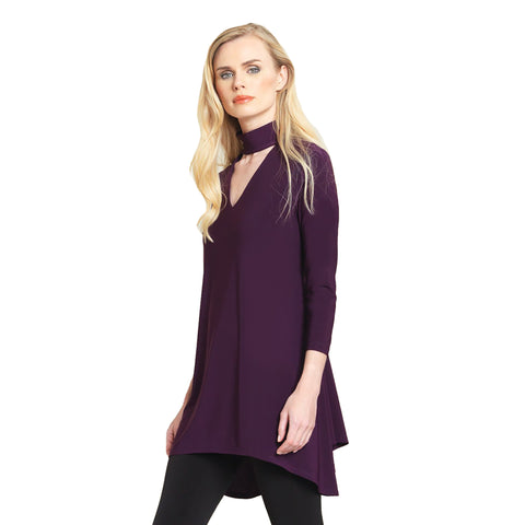 Choker V-Neckline Cutout Tunic in Eggplant TU507-EGP - Sizes XS & S Only