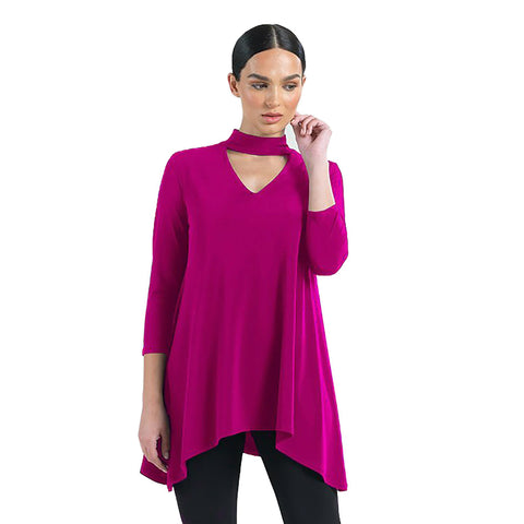 Clara Sunwoo Solid V-Neck Choker Tunic in Magenta - TU507-MAG - Sizes XS & S Only