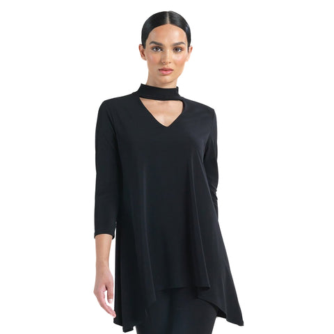 Clara Sunwoo  Solid V-Neck Choker Tunic in Black - TU507-BK