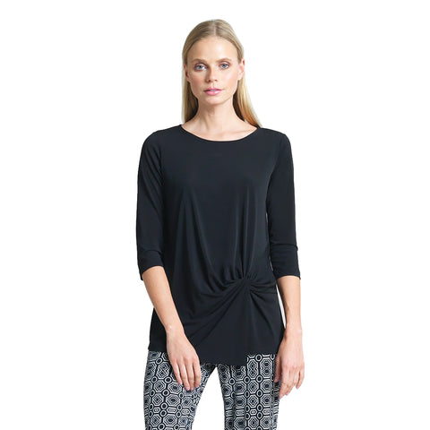 Clara Sunwoo Solid Tunic with a Front Twist in Black - TU60-BLK