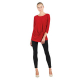 Clara Sunwoo Soft Knit Twist-Front Tunic in Red - TU60-RED