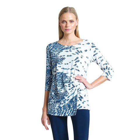 Clara Sunwoo Geo Animal Print Twist Front Tunic in Navy/White - TU60P