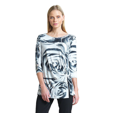 Clara Sunwoo White Rose Print Tunic with a Front Twist - TU60P2