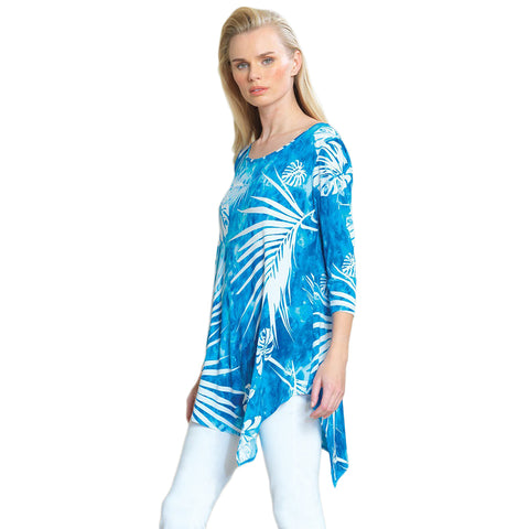 Clara Sunwoo Palm Print Back Cut-Out Tunic in Blue/White - TU66P5-BLU