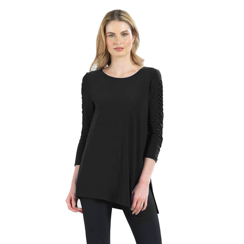 Just In! Clara Sunwoo Solid Ruched Sleeve Side Slit Tunic in Black - TU70-BLK