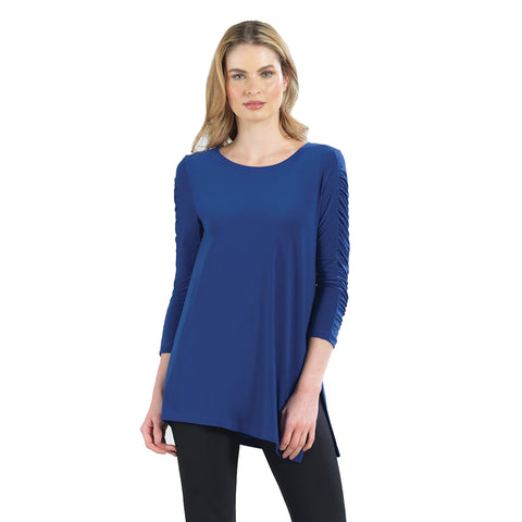 Just In! Clara Sunwoo Solid Ruched Sleeve Side Slit Tunic in Cobalt - TU70-COB