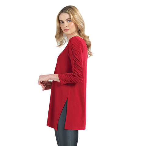 Clara Sunwoo Solid Ruched Sleeve Side Slit Tunic in Red - TU70-RED
