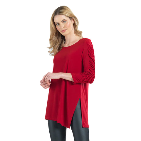 Clara Sunwoo Solid Ruched Sleeve Side Slit Tunic in Red - TU70-RED - Limited Sizes