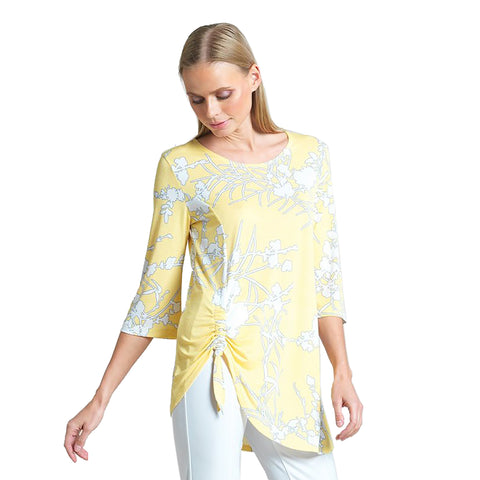Clara Sunwoo Floral Print Tunic with Side Tie Detail in Yellow - TU70P1