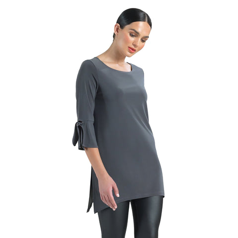 Clara Sunwoo Solid Tie Cuff Tunic in Charcoal - TU72-CHC - Size 1X Only