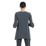 Just In! Clara Sunwoo Solid Tie Cuff Tunic in Charcoal - TU72-CHC