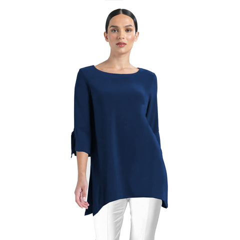 Clara Sunwoo Solid Tie Cuff Tunic in Navy - TU72-NVY - Sizes XS - M