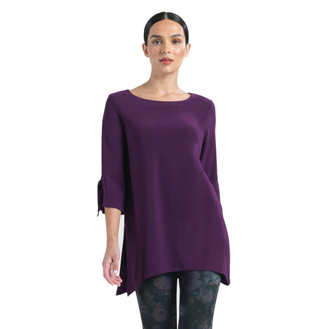 Clara Sunwoo Solid Tie Cuff Tunic in Eggplant - TU72-EGG - Size XS Only