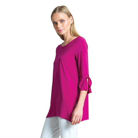New Color! Clara Sunwoo Solid Tie Cuff Tunic in Magenta - TU72-MAG