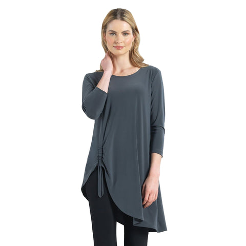 Clara Sunwoo Faux Pull Tie Standout Tunic in Charcoal - TU74-CH - Sizes XS & S