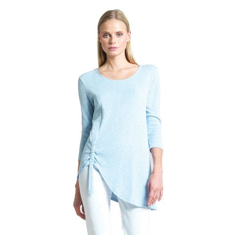 Clara Sunwoo Solid Cotton Knit Side Tie Tunic - TU74C-SBLU