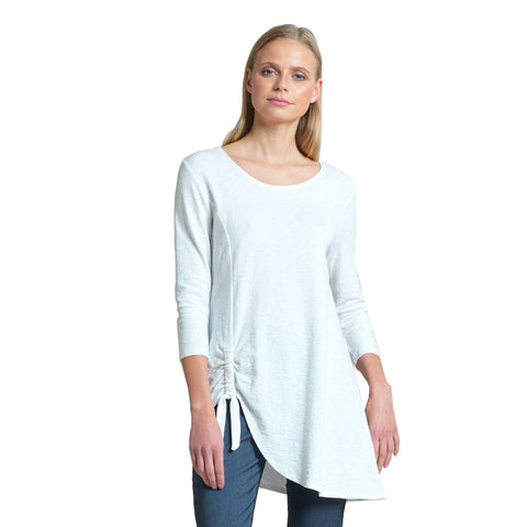 Clara Sunwoo Solid Cotton Knit Side Tie Tunic - TU74C-WHT