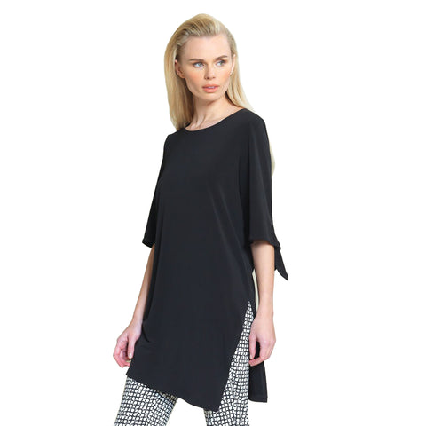 Clara Sunwoo Side Slit Tunic in Black - TU76-BK