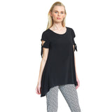 Clara Sunwoo Flirty Tie Sleeve Tunic in Black - TU77-BLK