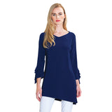 Clara Sunwoo Soft Stretch Light Knit Ruffle Cuff Tunic in Navy - TU824-NVY - Size S Only