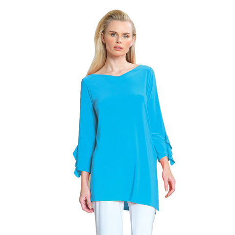 Clara Sunwoo V-Neck Ruffle Cuff Tunic in Turquoise - TU824-TQ - Size XS & L Only