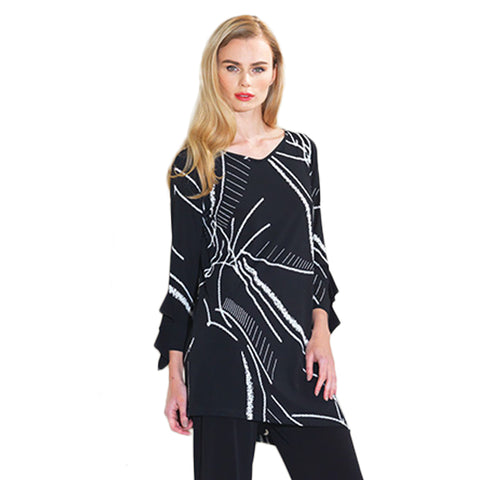 Clara Sunwoo Abstract Print Ruffle Sleeve Tunic in Black/White - TU824P-BLK
