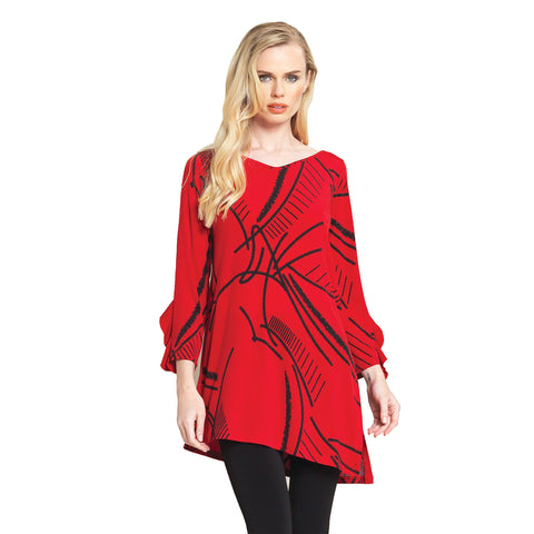 Clara Sunwoo Abstract Print V-Neck Tunic - Red/Black - TU824P-RD - Sizes XS, S & M Only