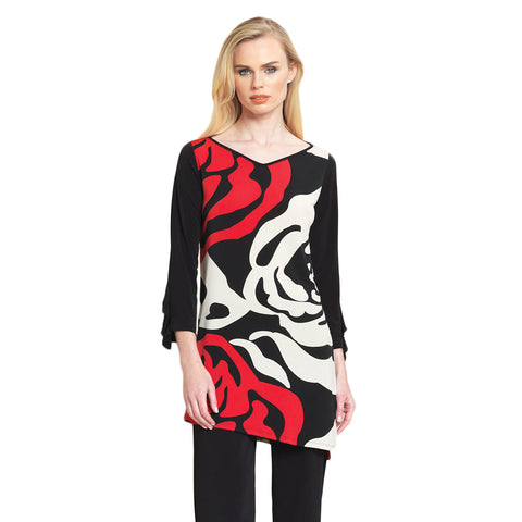 Clara Sunwoo Rose Stamp Print Relaxed Fit Ruffle Cuff Tunic - Beige, Red & Black - TU824P2