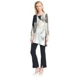 Clara Sunwoo Soft Watercolor Print V-Neck Tunic - Beige/Multi - TU824P3- Size XS Only