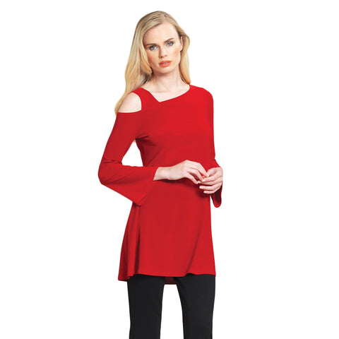 Just In! Drop Shoulder Bell Sleeve Tunic in Red - TU826-RED