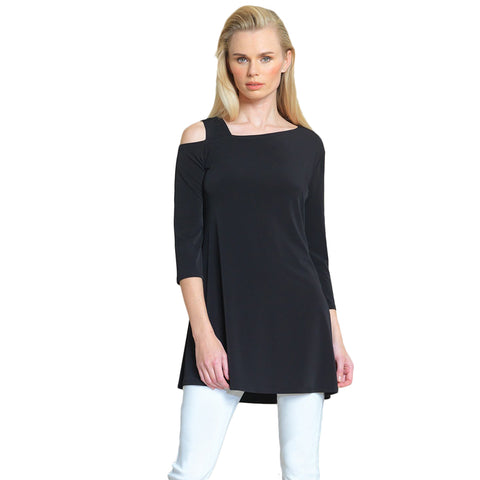 Clara Sunwoo Drop Shoulder Bell Sleeve Tunic - Black - TU826C-BK