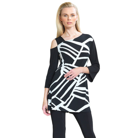 Clara Sunwoo Geo Stripe Drop Shoulder Bell Sleeve Tunic - Black/White - TU826P1-WB