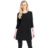 Clara Sunwoo Solid Square Cut Out Back Tunic in Black - TU827-BLK